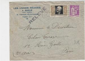 France 1934 Paris Cancel Stamps Cover + Anti Tuberculosis Stamp Ref 29797