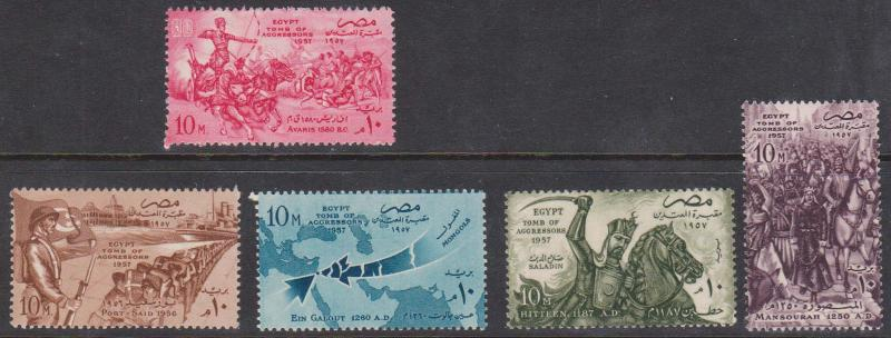 Egypt - 1957 Tomb of Agressors Set VF-NH #400-404
