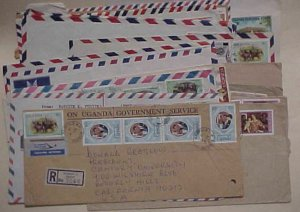 UGANDA  20 COVERS MOSTLY TO USA INCLUDES 5 REGISTERED