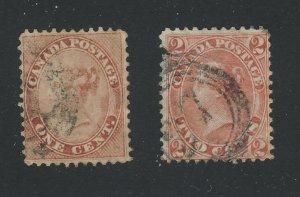 2x Canada Older Stamps #14-1c F/VF #20v-2c (dash in right 2) VG GV = $280.00