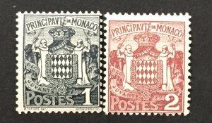 Monaco 1924-33  #60-1, Coat of Arms, Unused/MH.