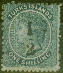Turks & Caicos Is 1881 1/2 on 1s Dull Blue SG9 Fine Mtd Mint