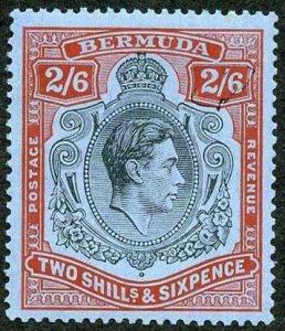 Bermuda SG117 2/6 Black and red/grey-blue Perf 14 U/M