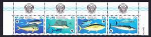 Nauru WWF Giant Fish Top Strip of 4v with Coat of Arms SG#458-461 MI#437-440