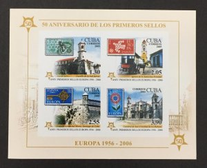 Cuba 2005 #4543a S/S Imperforate, Europa 50th Anniversary, MNH.