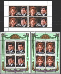 Cook Islands. 1986. Small sheet 1117-19. Prince Andrew's wedding. MNH.