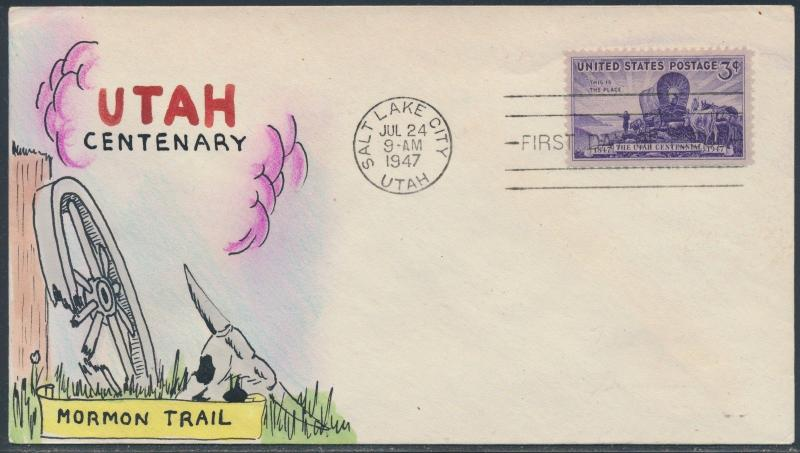 #950 UTAH CENTENARY ON MAE WEIGAND CACHET FDC HAND PAINTED BS6057