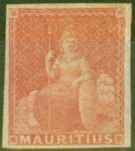 Mauritius 1858 (6d) Vermilion SG28 Fine Mtd Mint