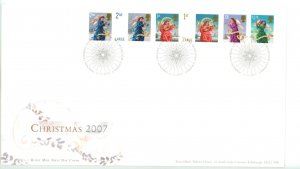 Great Britain 2007 FDC Christmas Sc# 2524-9 on two covers!