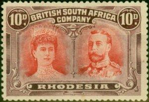 Rhodesia 1910 10d Scarlet & Reddish Mauve SG149 Fine & Fresh Mtd Mint