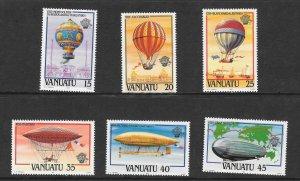 Vanuatu 354-9 Balloons and Airships VF MNH