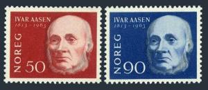 Norway 439-440,lightly hinged.Michel 496-497. Ivar Aasen,poet,philologist.1963.