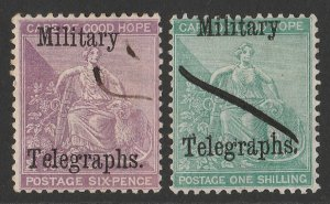 BECHUANALAND 1885 Military Telegraphs set 6d & 1/- Cape Hope Seated.