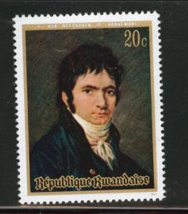 RWANDA Scott 408 MH* 1971 Beethoven stamp