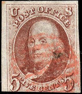 U.S. 1d Used 1847 F+. (32718)