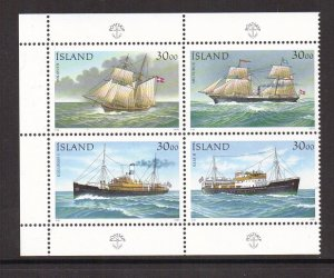 Iceland   #745  MNH  1991   ships  block of 4