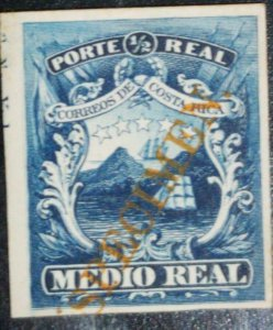 A) 1864, COSTA RICA, NATIONAL EMBLEM, DICE-PROOF INTENSE BLUE CARDBOARD WITH HIG