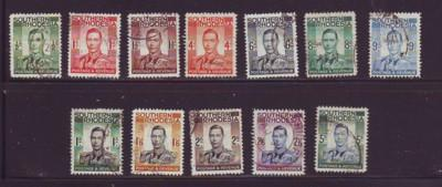 Southern Rhodesia Sc 42//54 1937 G VI long stamp set no 49 used