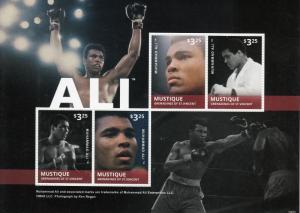 Mustique Grenadines St Vincent Boxing Stamps 2014 MNH Muhammad Ali 4v M/S I
