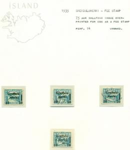 ICELAND GREIDSLUMERKI (Fee Stamp) Specialized collection on pages, Facit $270.00