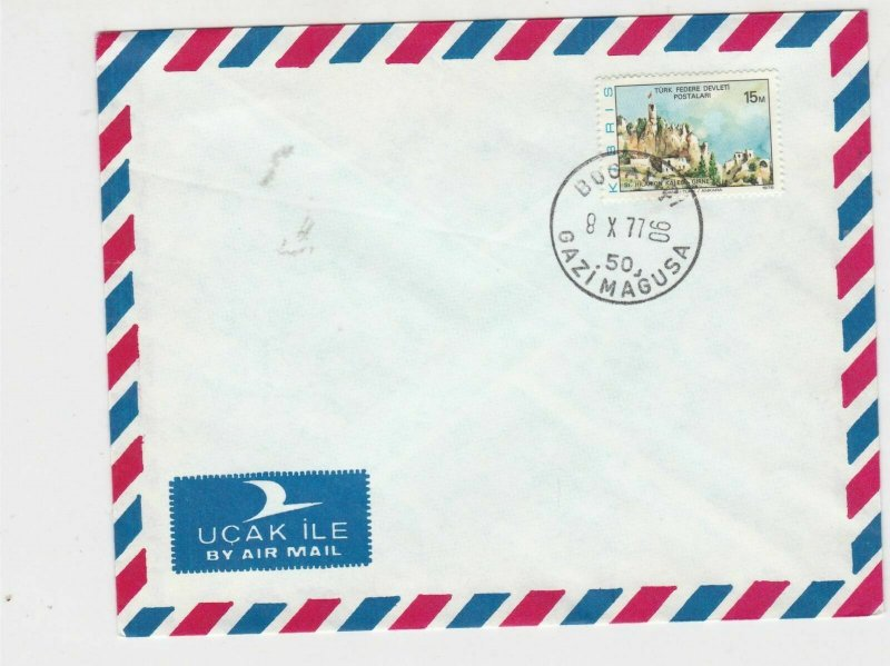 cyprus 1977 buildings air mail stamps cover ref 21191