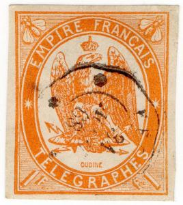 (I.B-CK) France Telegraphs : 1Fr Dull Orange (1868)