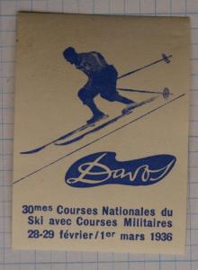 Swiss National Downhill ski race course Davos military x-game 1936 ad Poster