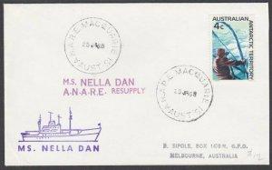 AUSTRALIA ANTARCTIC 1968 cover ex Macquarie. - MS Nella Dan ship cachet.....M795