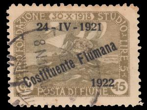ITALY FIUME OCCUPATION STAMP YEAR 1922 SCOTT # 165. USED