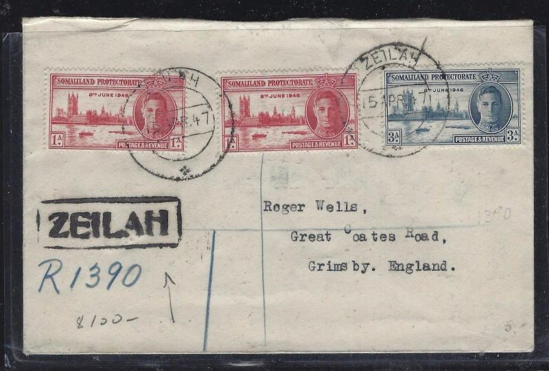 SOMALILAND COVER (PP0312B)   KGVI  PEACE SET REG ZEILAH TO ENGLAND