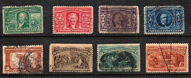 #237-239, 321-327  U S Commemoratives Hi Values 8 Different ⭐⭐⭐⭐⭐
