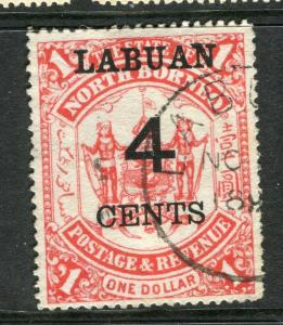 LABUAN; 1895 early surcharged $1 value used 4c. value