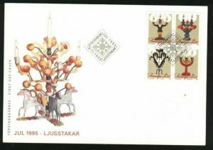 Sweden.  FDC Cachet 1995 Christmas Stamps. Candlesticks.