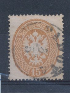 1863 Lombardy Veneto, N°40 - 15 Cash Bruno Serrated 14, Used - Used