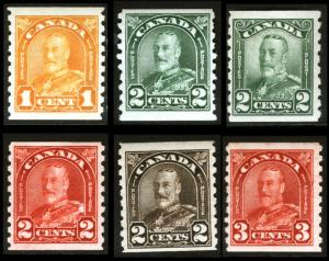 Canada #161, #178-#183 1930-31 Coil Lot VF *Mint* 6 items