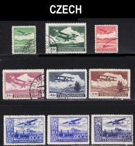 Czechoslovakia Scott C10-17 complete set including C16a  F to VF used.
