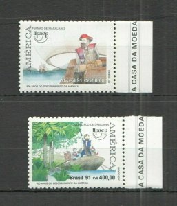 AB1364 1991 BRAZIL SHIPS & BOATS EXPLORERS AMERICA UPAEP COLUMBUS SET FIX