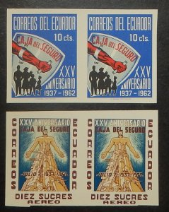 Ecuador 694, C413. 1963 Social Insurance, imperforate pairs, NH