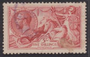 Great Britain 1918 5s Red Seahorse Sc#174a VFU