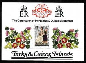 Turks & Caicos Is.-Sc#346- id5-unused NH sheet-QEII-25th Coronation-1978-