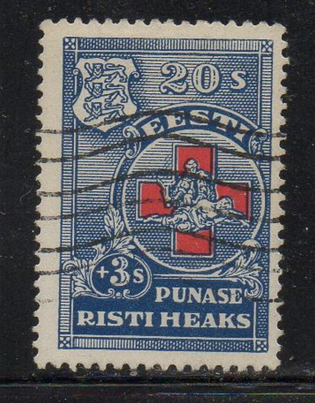 Estonia Sc B23 1931 20s +3 s Red Cross stamp used