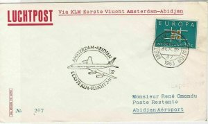 Netherland Europa 1963 First Flight Plane Amsterdam Slogan Stamp Cover ref 22752
