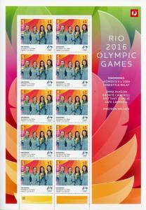 Australia 2016 MNH Rio Olympics Gold Medal Winners Women Swimming 10v M/S Stamps