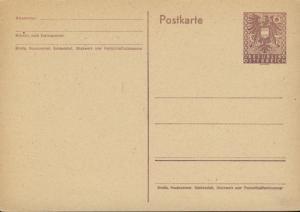 AUTRICHE / AUSTRIA 1945 CARTE POSTALE / POSTAL CARD 6pf NEUVE / MINT MiP322