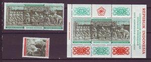 J25137 JLstamps 1968 indonesia set + s/s mnh #b211-4,b213a budda and temple