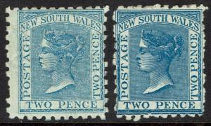 NEW SOUTH WALES 1882 QV 2D BOTH SHADES WMK CROWN/NSW SG  W40 PERF 10