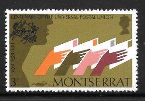 Montserrat 308: 3c Hands Holding Letters, MH, VF