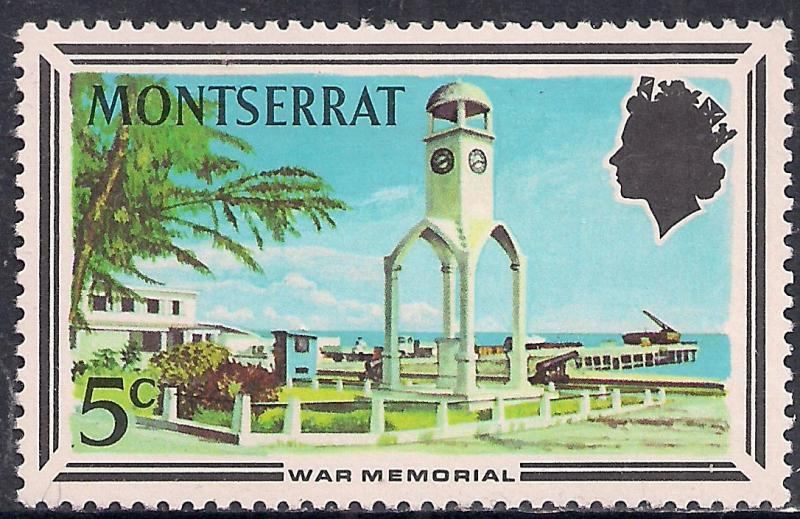 Montserrat 1970 QE2 5ct Tourism War Memorial Umm SG 259 ( H1330 )