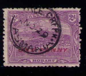 TASMANIA SC 114 USED OVERPRINT IN RED (AUSTRALIAN STATES) 1911 F-VF