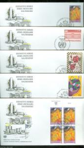 UNITED NATIONS 1998 DEFINITIVES INCLUDING $5  BLOCK  LOT OF 9  FIRST DAY COVERS